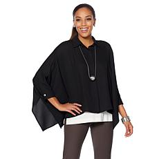 WynneLayers Button Front Poncho Shirt