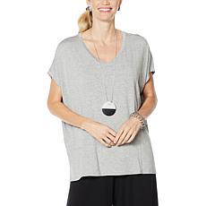 WynneLayers Cap-Sleeve Panel Knit Top