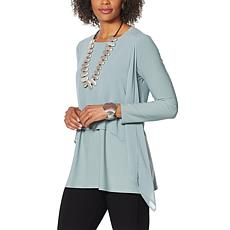WynneLayers Chiffon Overlay Handkerchief Hem Poncho Top