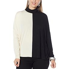 WynneLayers Colorblocked Unstructured Turtleneck Top