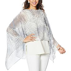 WynneLayers Convertible Leaf Print Chiffon Poncho