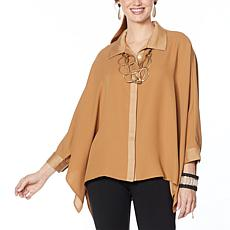 WynneLayers Mixed Media Unstructured Button-Front Shirt