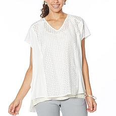 WynneLayers Mixed Media V-Neck Boxy Top