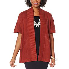 WynneLayers Ribbed Sweater Knit Poncho Topper