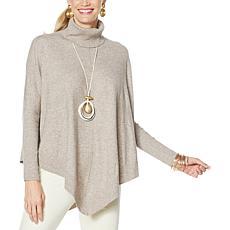 WynneLayers SoftKNIT Ribbed Trim Sweater Poncho