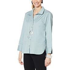 WynneLayers Stretch Poplin Hi-Low Shirttail Hem Shirt