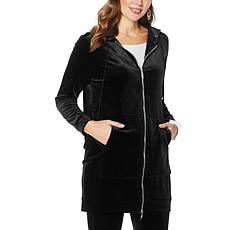 WynneLayers Stretch Velvet Zip-Front Hooded Coat