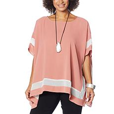 WynneLayers Washed Crepe Poncho with Chiffon Inset