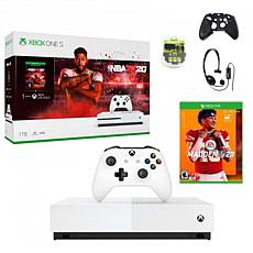 Xbox One S 1TB Console with NBA 2K20 with Madden 20 and Accessories