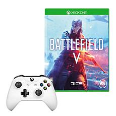 Xbox One S Controller in White with Battlefield V Game