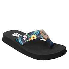 Yellow Box Francis Tropical Print Wedge Thong Sandal