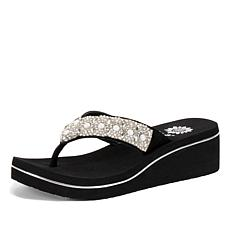Yellow Box Mindie Leather Embellished Thong Sandal