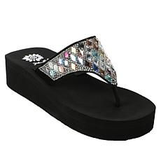 Yellow Box Perri Leather Embellished Thong Sandal