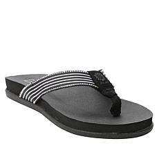 Yellow Box Quelle Striped Twill Wedge Thong Sandal
