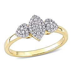 Yellow Gold-Plated Sterling Silver .20ctw Diamond Cluster Ring