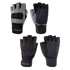 Zero Friction Men's Universal Fit Weight Training Gloves 2-Pair Pack