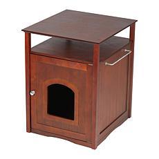 zoovilla Cat Washroom Litter Box Cover/Night Stand Pet House - Walnut