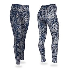 Zubaz Navy and Gray Post Print Leggings