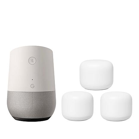 Deals on Google Nest Wi-Fi Router w/2 Wi-Fi Points & Google Home Speaker