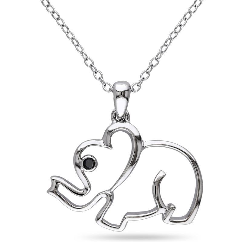 .015ctw Black Diamond Elephant Pendant with Chain