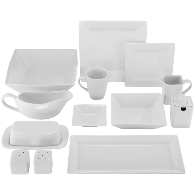 10 Strawberry Street Nova 40-piece Square Dinnerware Set - Cream White