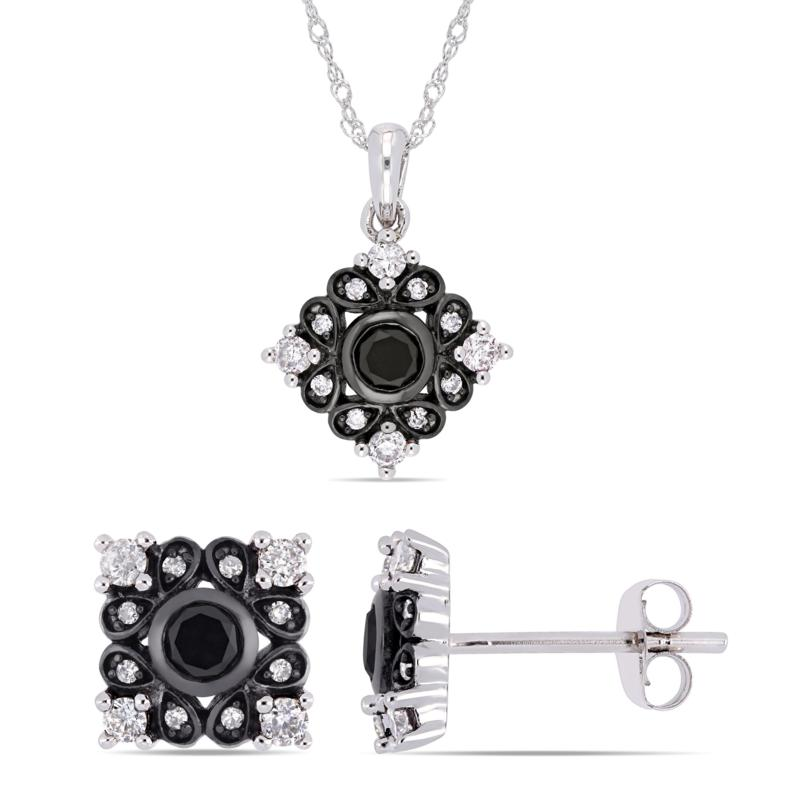 10K Gold .90ctw Black and White Diamond Bohemian Earrings and
