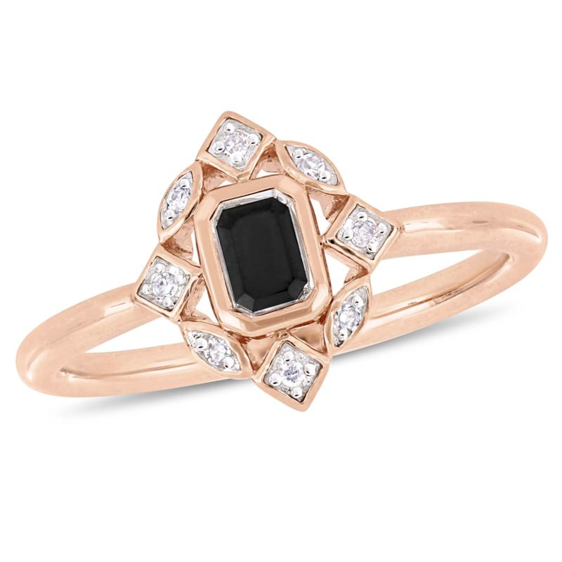 10K Rose Gold 0.39ctw Black and White Diamond Ring