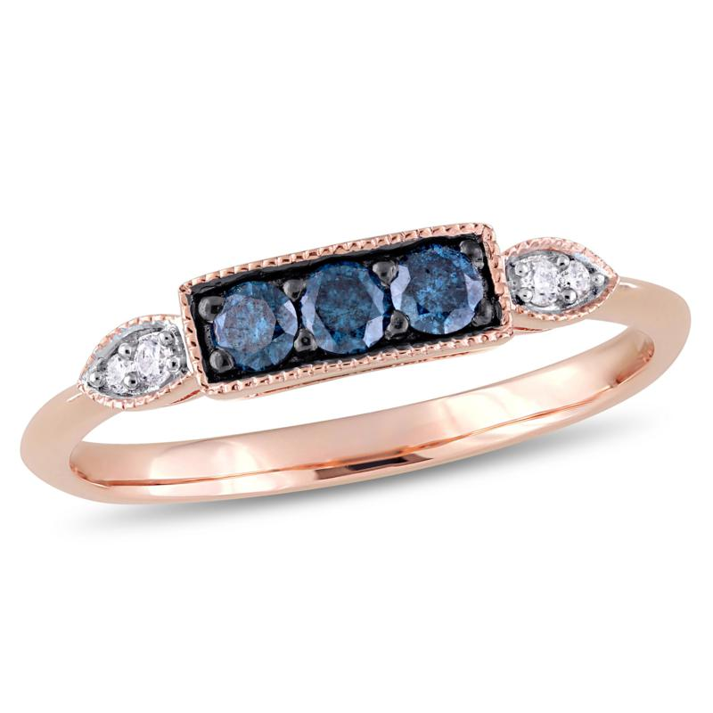 10K Rose Gold Blue and White Diamond Ring