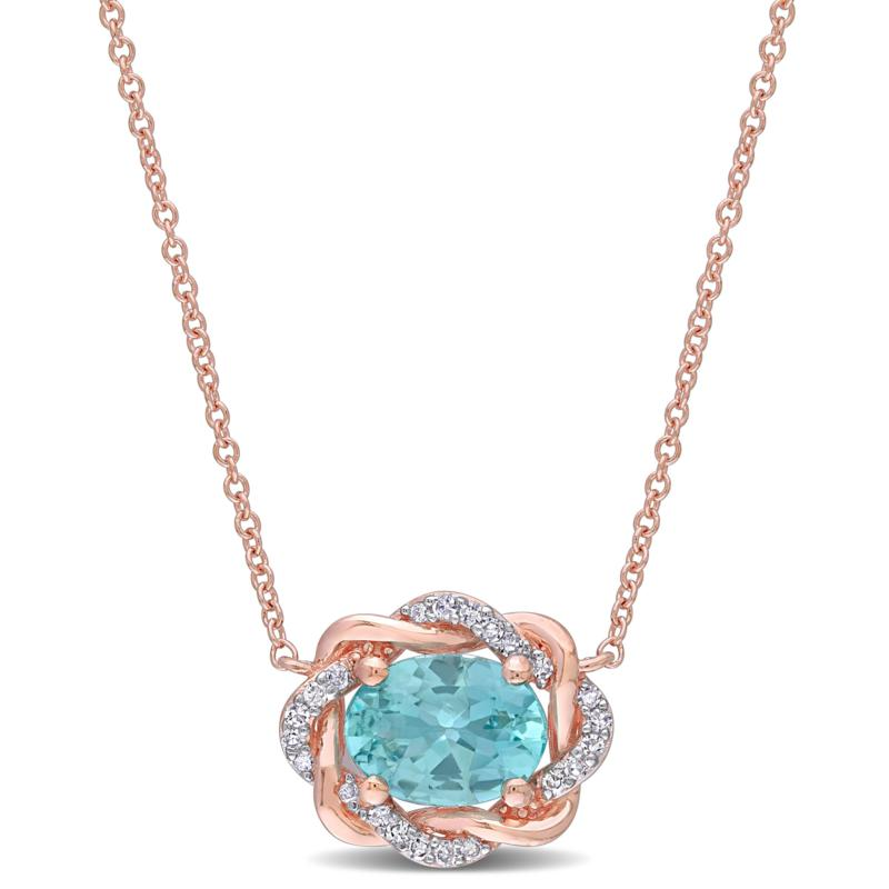 10K Rose Gold Diamond and Apatite Twisted Halo Necklace