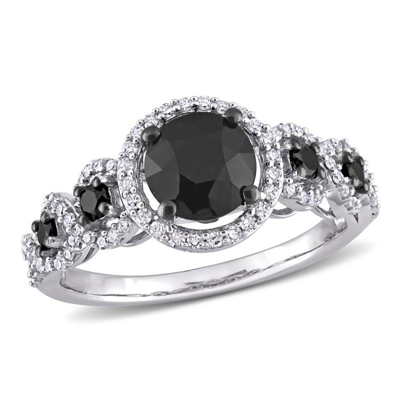 10K White Gold 1.95ctw Black and White Diamond Station Engagement Ring