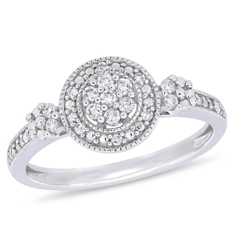 10K White Gold .20ctw Diamond Round Pavé Engagement Ring