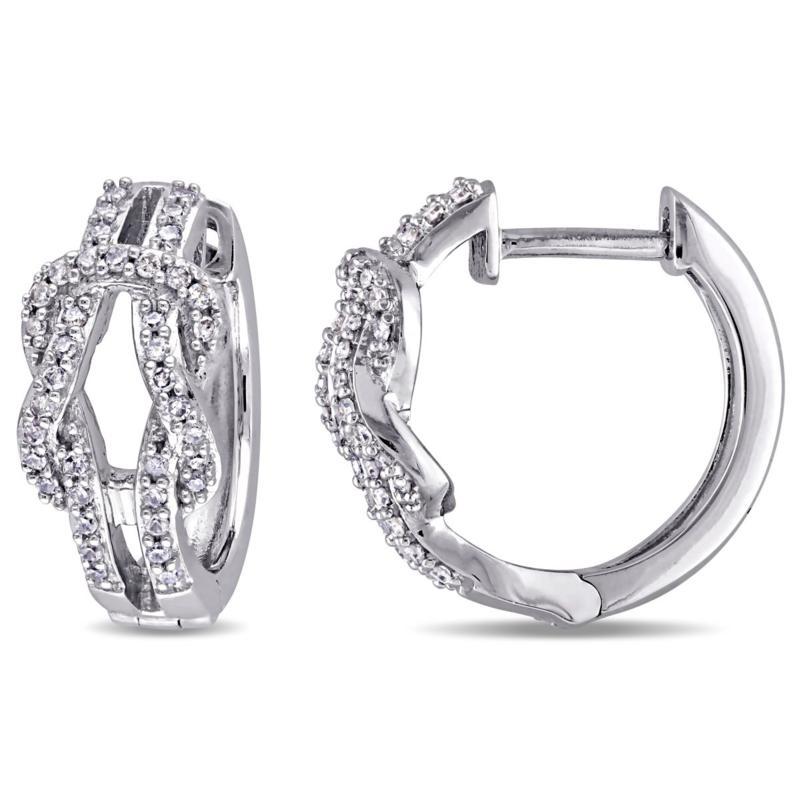 10K White Gold .23ctw White Diamond Bow Crossover Hoops