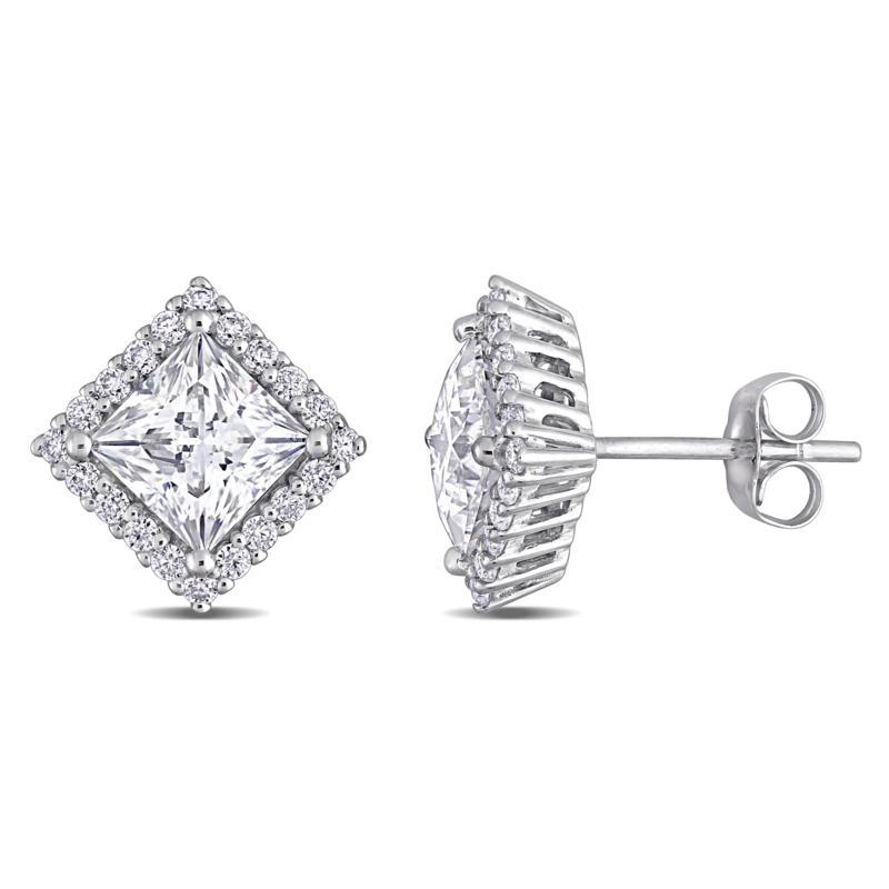 10K White Gold 2.76ctw Moissanite Princess-Cut Pavé Halo Stud Earrings
