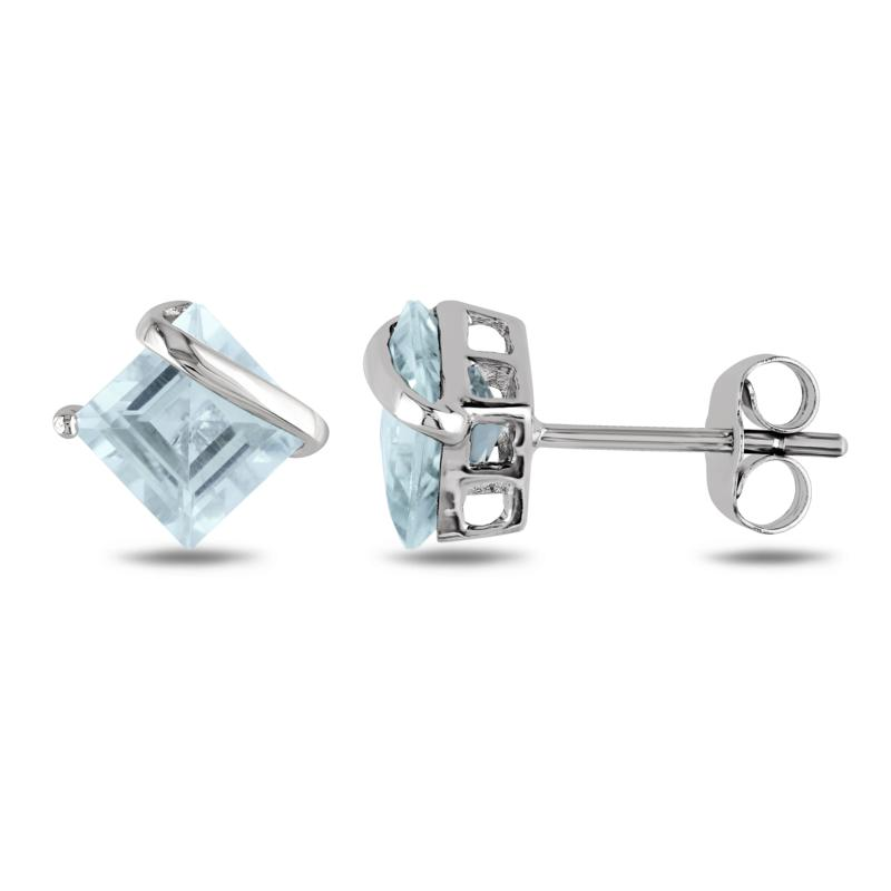 10K White Gold 2ctw Square Aquamarine Stud Earrings