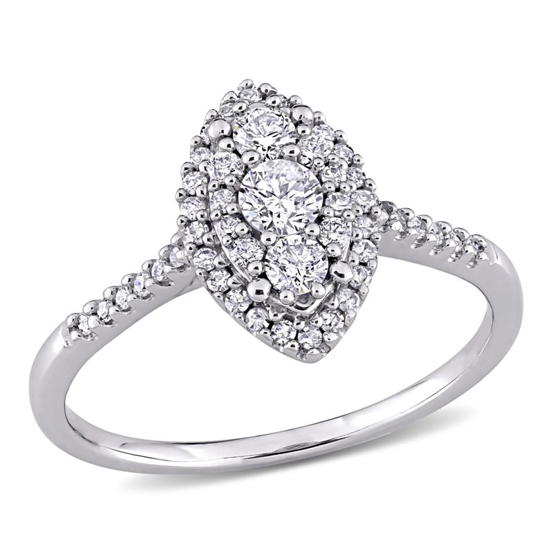 10K White Gold .5ctw Diamond Marquise Cluster Halo Engagement Ring