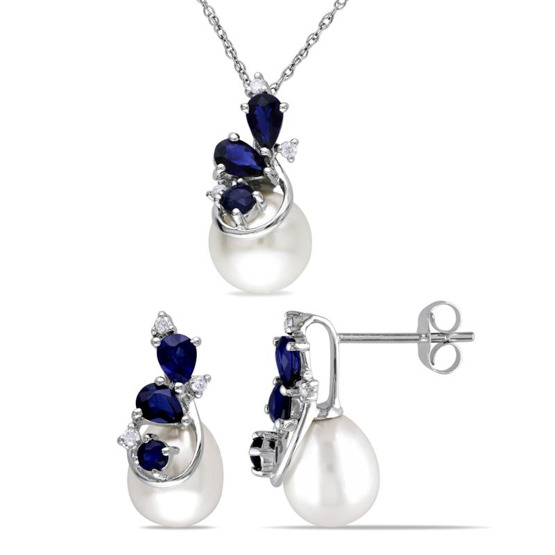10K White Gold Cultured Pearl, Diamond and Gem Earrings and Pendant