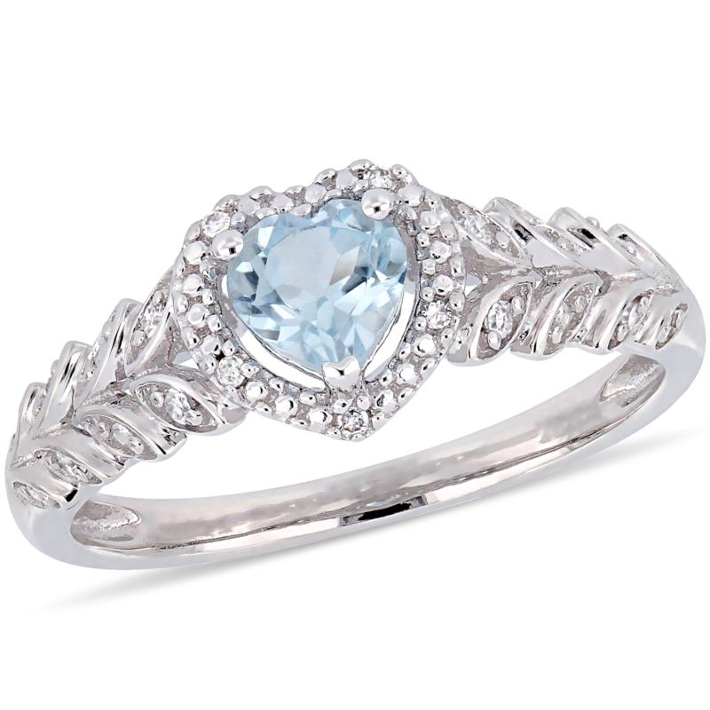 10K White Gold Diamond Accent and Sky Blue Topaz Halo Heart  Ring