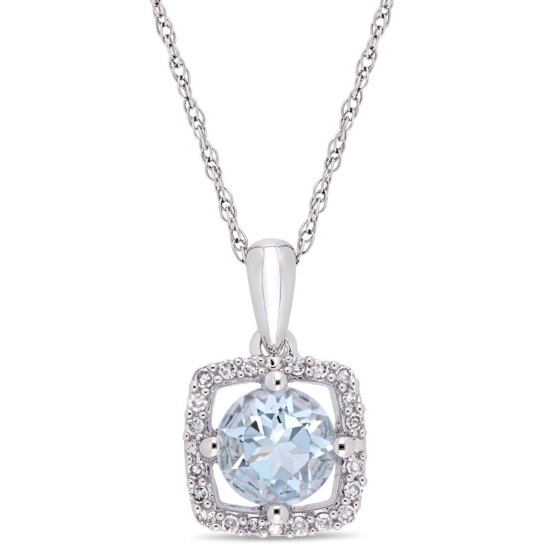 10K White Gold Diamond and Aquamarine Halo Pendant