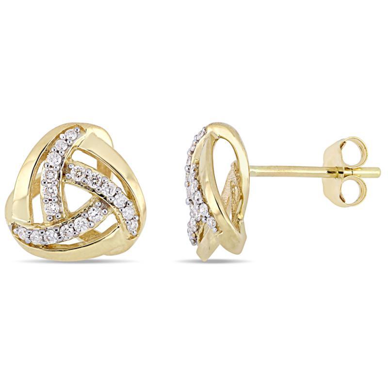 10K Yellow Gold 0.20 ctw Diamond Knot Stud Earrings