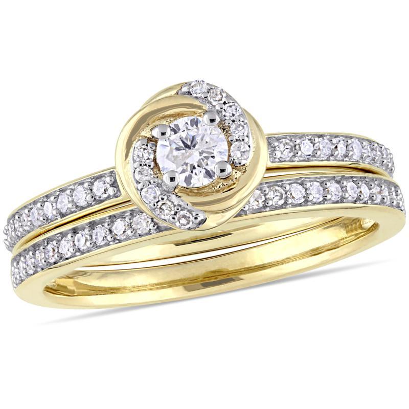 10K Yellow Gold 0.50ctw Diamond Bridal Set Ring
