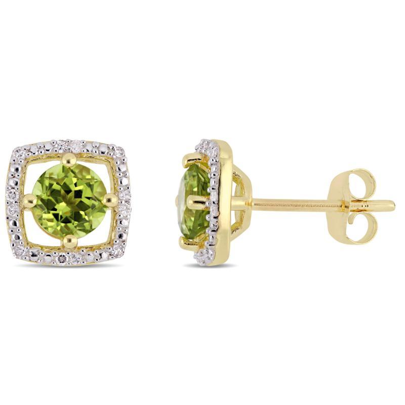 10K Yellow Gold 1.19ctw Peridot and Diamond Stud Earrings