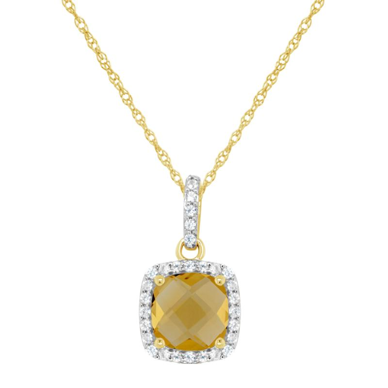10K Yellow Gold Gem and Created White Sapphire 7mm Pendant with Chain