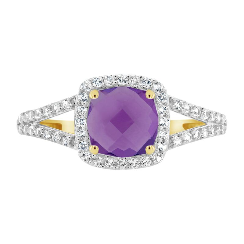 10K Yellow Gold Gem and Created White Sapphire 7mm Ring