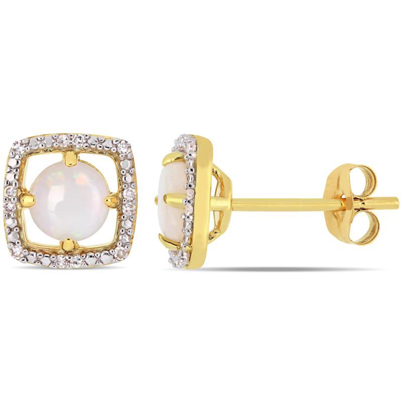 10K Yellow Gold Opal and Diamond Stud Earrings