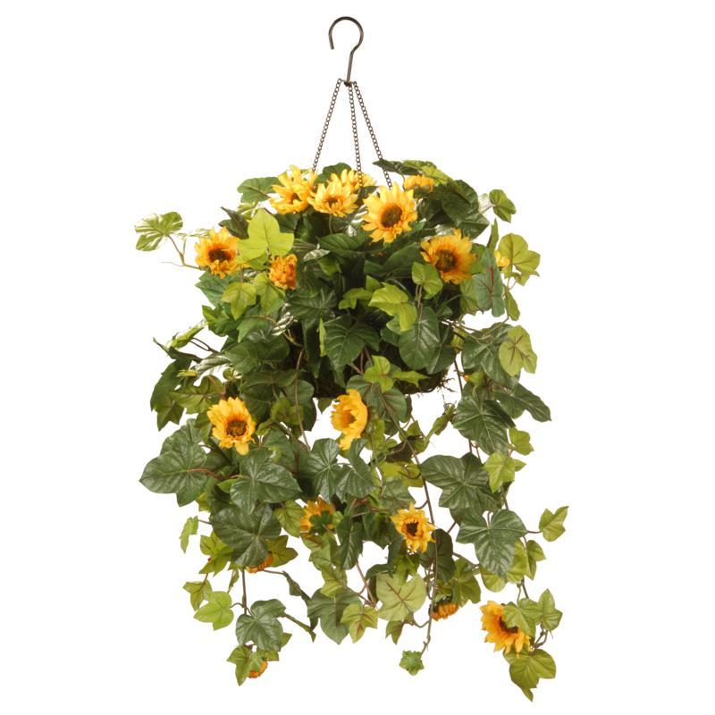 "11"" Artificial Sunflower Hanging Basket"