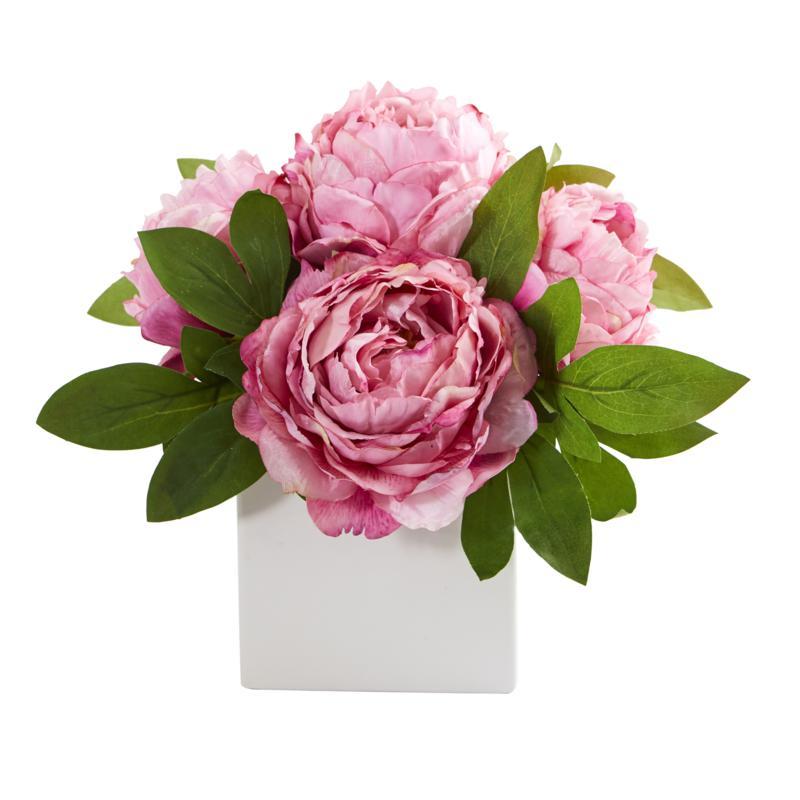 11 in. Peony Artificial Arrangement in White Vase