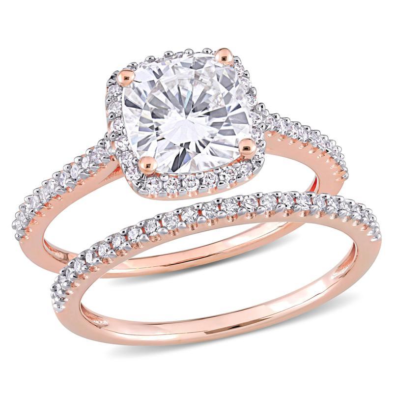 14K Rose Gold 2.25ctw Moissanite and .35ctw Diamond 2-piece Ring Set