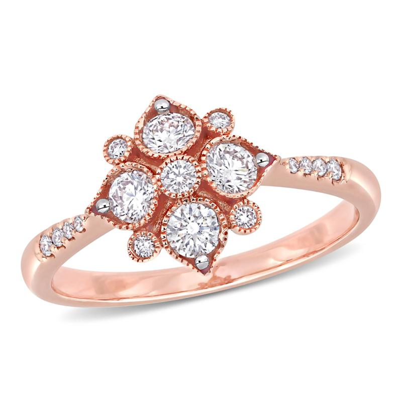 14K Rose Gold .50ctw Diamond Geometric Engagement Ring