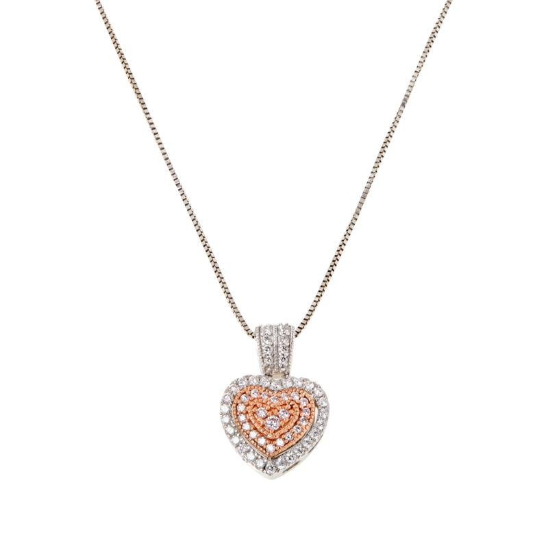 14K Two-Tone .25ct Pink and White Diamond Heart Pendant with Chain
