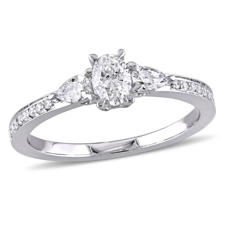 14K White Gold 0.61ctw Oval Diamond Engagement Ring